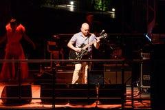 Morcheeba tour 2018. Merano / Meran, Italy - August 2, 2018: , Ross Godfrey guitarist of Morcheeba, performs live royalty free stock images
