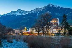 Merano Christmas market in the evening, Trentino Alto Adige, northern Italy. Merano or Meran is a town and comune in South Tyrol, northern Italy stock photography
