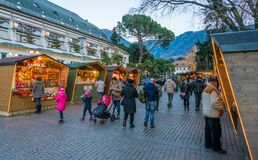 Merano Christmas market in the evening, Trentino Alto Adige, northern Italy. Merano or Meran is a town and comune in South Tyrol, northern Italy royalty free stock images