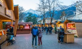 Merano Christmas market in the evening, Trentino Alto Adige, northern Italy. Merano or Meran is a town and comune in South Tyrol, northern Italy royalty free stock image