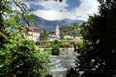 Merano and the Passer river Royalty Free Stock Photo