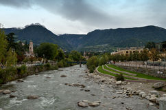 Merano-river Passer, tributary of the Adige, Italy Royalty Free Stock Photo