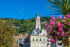 Merano in South Tyrol, a beautiful city of Trentino Alto Adige, Autumn view of the Cathedral of Meran. Italy. Merano in South Tyrol, a beautiful city of stock images