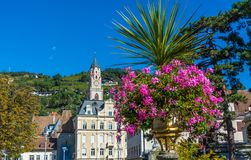 Merano in South Tyrol, a beautiful city of Trentino Alto Adige, Autumn view of the Cathedral of Meran. Italy. Merano in South Tyrol, a beautiful city of royalty free stock photos