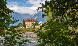 Merano in South Tyrol, a beautiful city of Trentino Alto Adige, View on the famous promenade along the Passirio river. Italy. Royalty Free Stock Photo