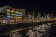 Merano vid natten, Trentino, Italien Arkivbilder