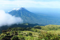 Merapi mountain. This is merapi mountain. This photo take from merbabu mountain. This mountain look like twin Royalty Free Stock Images