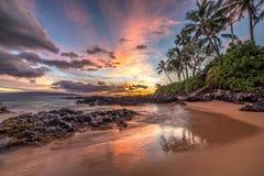 Meraviglia hawaiana di tramonto Fotografie Stock