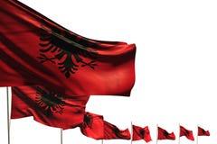 Meraviglioso molte bandiere dell'Albania hanno disposto la diagonale isolata su bianco con il posto per il vostro testo - tutta l illustrazione di stock