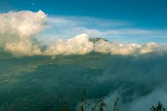 Merbabu mountains covered in clouds Royalty Free Stock Photos
