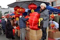 Mercado al aire libre chino del Año Nuevo Imagen de archivo