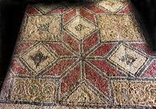 Mercado antigo Atenas Gre da ágora de Stoa Attalos do projeto do assoalho de mosaico fotografia de stock royalty free