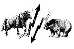 Mercado ceñudo y disparatado ilustración del vector