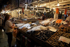 Mercado central i Santiago de Chile, Chile Arkivbild