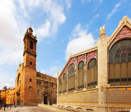 Mercado Central and  Santos Juanes Church in Valencia Stock Photography