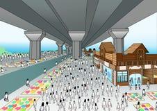 Mercado comercial del mercado meridional de la autopista stock de ilustración