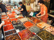Mercado coreano de la comida fotografía de archivo libre de regalías