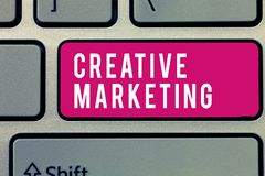 Mercado criativo do texto da escrita da palavra Conceito do negócio para que fazer campanha cumpra as exigências da propaganda fotografia de stock