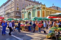 Mercado croata do fazendeiro da costa fotografia de stock