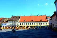 Mercado cuadrado en Sibiu, capital europea de la cultura por el año 2007 Foto de archivo