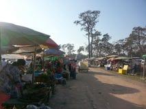 Mercado da beira do Tailandês-Cambodian Imagem de Stock Royalty Free