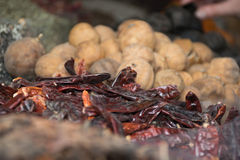 Mercado da especiaria de Dubai, pimentão secado e limão Imagens de Stock