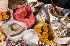 Mercado da especiaria, Myanmar fotografia de stock