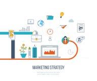 Mercado da estratégia de marketing e do índice Gestão de investimento Linha de cor ícones Foto de Stock Royalty Free