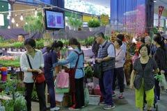 Mercado da flor de Taipei pela estrada do jianguo Fotografia de Stock Royalty Free