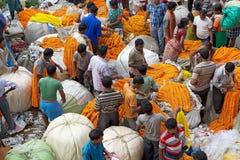 Mercado da flor, Kolkata, Índia Fotos de Stock Royalty Free
