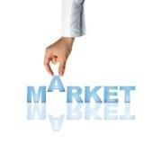 Mercado da mão e da palavra Imagens de Stock Royalty Free