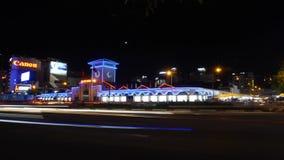 Mercado da noite de Ben Thanh do lapso de tempo da cidade de Saigon - de Ho Chi Minh filme