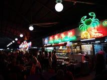 Mercado da noite de Kuching, alimento de mar imagens de stock