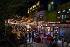 Mercado da noite do espaço da caixa foto de stock