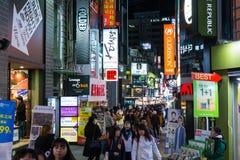 mercado da noite do Myeong-dong Imagens de Stock