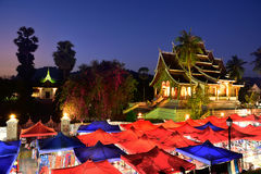 Mercado da noite no prabang de Luang, Laos Imagens de Stock Royalty Free