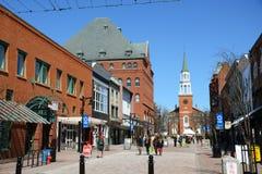 Mercado da rua da igreja, Burlington, Vermont imagens de stock