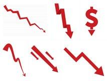 Mercado de acción abajo/flechas de la quiebra Imágenes de archivo libres de regalías