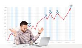 Mercado de acción calculador del hombre de negocios con el gráfico de levantamiento en los vagos Fotografía de archivo libre de regalías