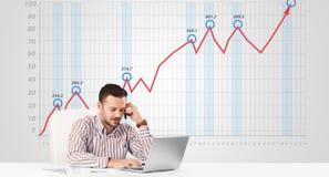 Mercado de acción calculador del hombre de negocios con el gráfico de levantamiento en los vagos Foto de archivo