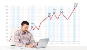 Mercado de acción calculador del hombre de negocios con el gráfico de levantamiento en los vagos Fotos de archivo libres de regalías