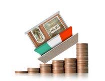Mercado de acción del gráfico de las monedas Imagen de archivo