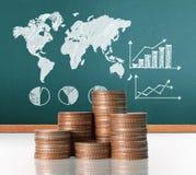Mercado de acción del gráfico de las monedas Imágenes de archivo libres de regalías