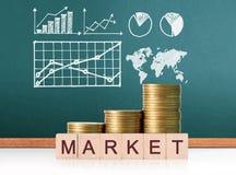 Mercado de acción del gráfico de las monedas Fotos de archivo