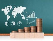 Mercado de acción del gráfico de las monedas Imagenes de archivo