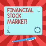 Mercado de acción financiero del texto de la escritura El significado del concepto que muestra las seguridades financieras comerc libre illustration