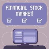Mercado de acción financiero del texto de la escritura de la palabra Concepto del negocio para mostrar las seguridades financiera stock de ilustración