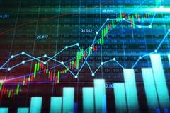 Mercado de acción o gráfico comercial de las divisas en concepto gráfico Imagen de archivo