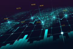 Mercado de acción o gráfico comercial de las divisas en concepto futurista libre illustration