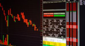 Mercado de acción o gráfico y carta comerciales de las divisas para la aleta de la tecnología imagenes de archivo